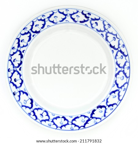 blue and white plate pineapple pattern traditional style of Thailand ceramics - stock photo