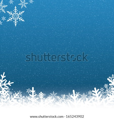 Blue and White Snowflake Background with Falling Snow - stock photo