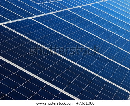 Blue and white solar panels texture - stock photo