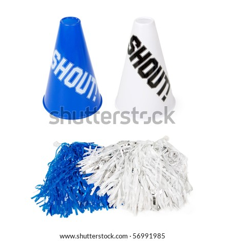 Blue and white sporting event pom-poms and cones. Isolated on white. - stock photo