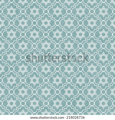 Blue and White Star of David Repeat Pattern Background that is seamless and repeats - stock photo