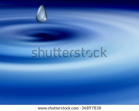 blue and white  swirl with  drop. abstract illustration