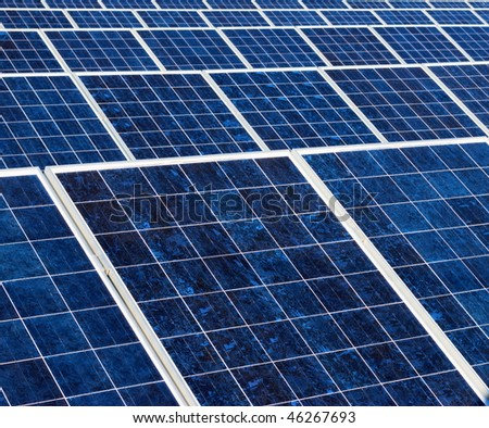 Blue and white texture of a solar panel - stock photo