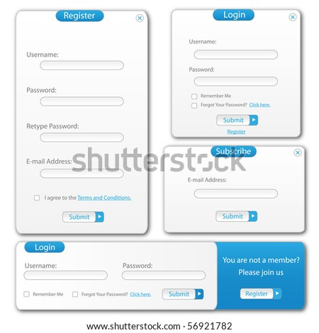 Blue and white web template forms. - stock photo