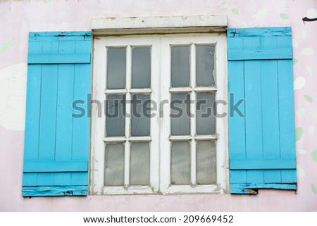 blue and white window