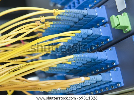 Blue and yellow network cables plugged in hub in computer rack - stock photo