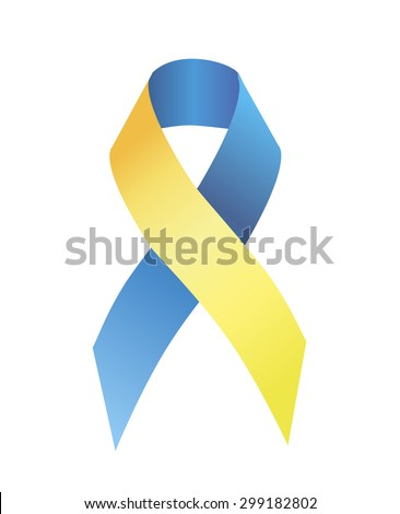 Blue and yellow ribbon symbolizing attention to the problem of people with Down syndrome - stock photo