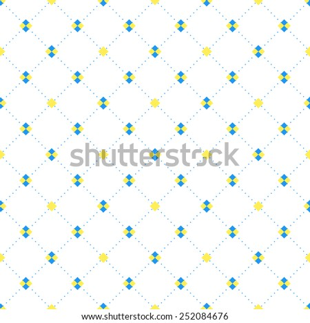 Blue and yellow squares and diamonds seamless pattern in rhomb shape. Repeating background for cover, presentation, web site, banner, etc. - stock photo