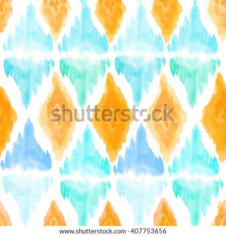 blue and yellow watercolro pattern  - stock photo