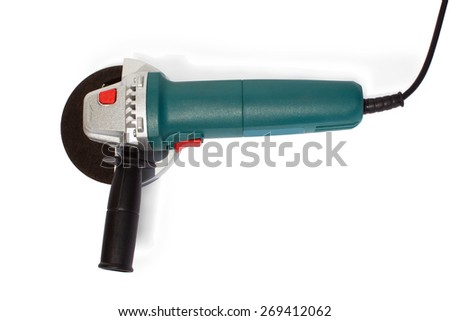 blue angle grinder on a white background isolated