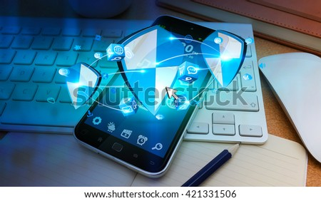 Blue antivirus shield icons connected to each other in office '3D rendering' - stock photo