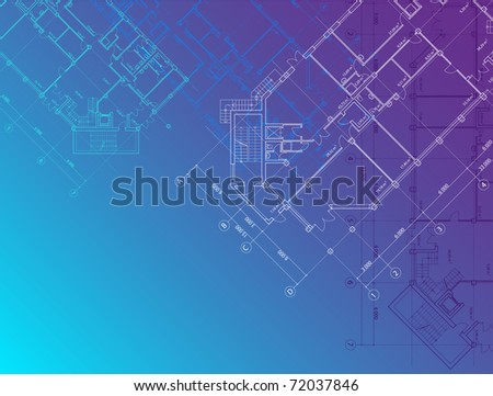 Blue architectural background horizontal (see eps version in my portfolio) - stock photo