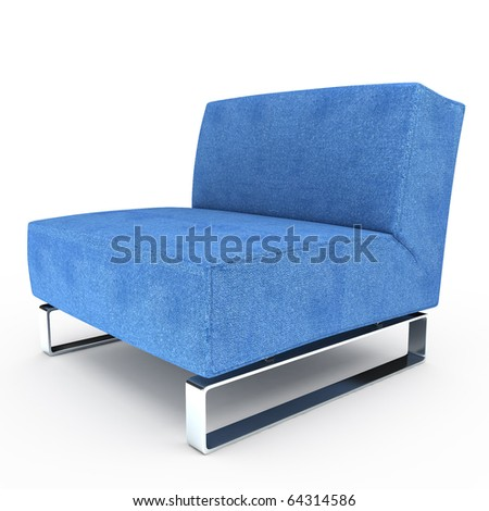 blue armchair on white background.3D illustration - stock photo