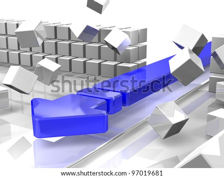 Blue arrow breaks the barrier. It is a representation of the innovation. This is a computer generated image. - stock photo