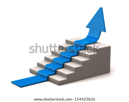 Blue arrow climbs upwards - stock photo