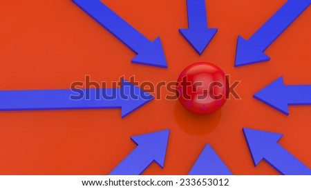 blue arrows on a orange background point to the red sphere in the center of the image - stock photo