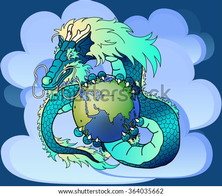 Blue Asian dragon and Earth - stock photo