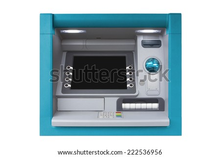 Blue ATM with blank screen isolated on white background - stock photo