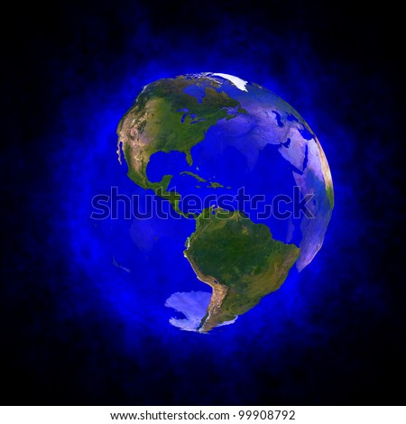 Blue aura of Earth - America Elements of this image furnished by NASA. - stock photo