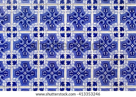 blue azulejos - tiles from Lisbon, Portugal