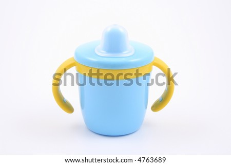 blue baby cup - stock photo
