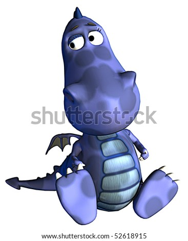 blue baby dragon seated - stock photo