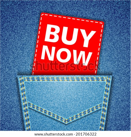 Blue back jeans pocket realistic denim texture with buy now tag - stock photo