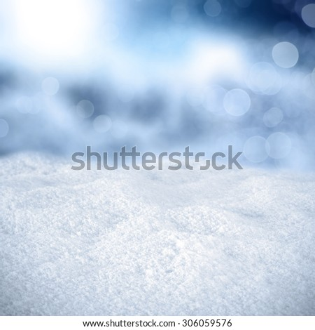 blue background of frost and white snow space  - stock photo