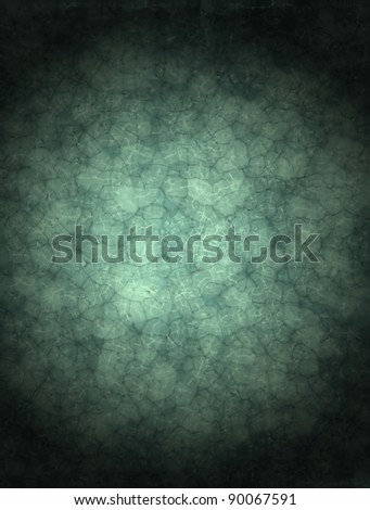 blue background with abstract vintage grunge texture with watery glass design layout and dark black vignette shading around border, has copy space for text or ad - stock photo