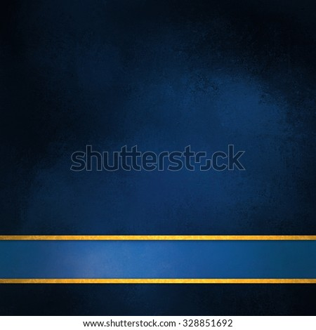 blue background with blue ribbon and gold trim stripes, elegant rich dark blue color with shiny thin stripes of gold along bottom border for adding your own text or title, blue footer - stock photo