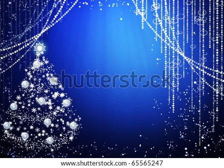 Blue background with Christmas tree - stock photo