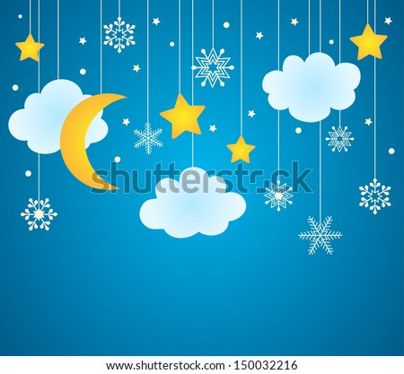 Blue background with hanging clouds, moon, stars and snowflakes/ christmas card - stock photo