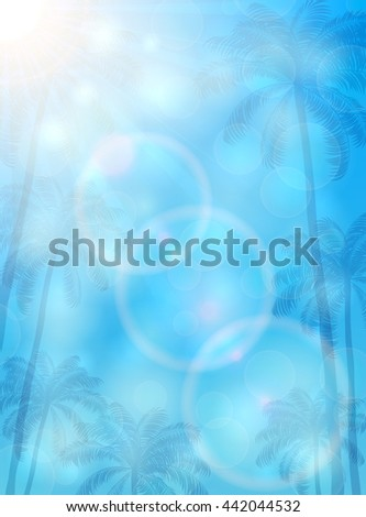 Blue background with palms and sun, Summer theme with palm trees and bright Sun on blue sky, illustration.  - stock photo