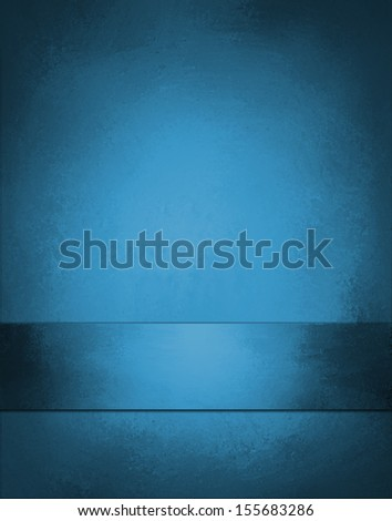 blue background with ribbon and black vignette border with center spotlight for adding text or graphic art image - stock photo