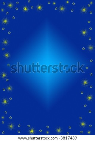 Blue background with scratchy stars - stock photo