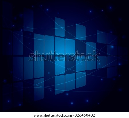 blue background with squares and perspective - abstract  - stock photo
