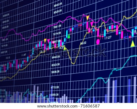 Blue background with stock chart 3D