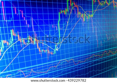 Blue background with stock chart. Stock diagram on the screen. Candle stick graph chart of stock market investment trading. Background stock chart. Finance concept.   - stock photo