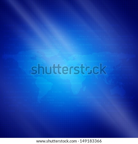 Blue background with the digital elements of  world map communications - stock photo