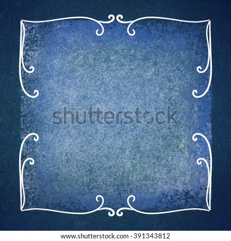 blue background with white parchment layer and fancy hand drawn white corner design elements with curls and flourish swirls