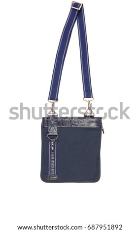 blue bag crossbody, isolated on white, single object