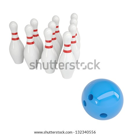 Blue ball and skittles for bowling. Isolated render on a white background - stock photo