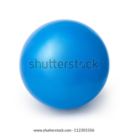 Blue Ball isolated on a White background with clipping path - stock photo