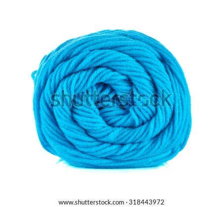Blue Ball of knitting yarn on a white background.