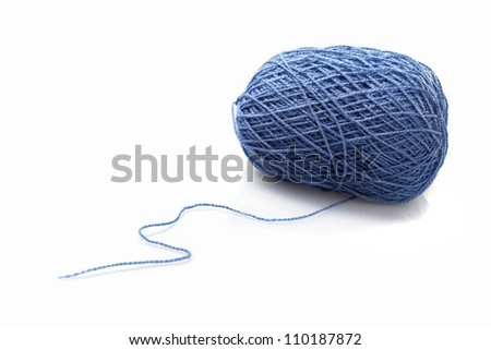 Blue ball of woollen thread isolated on white - stock photo