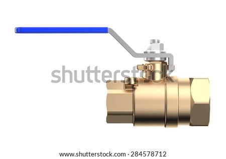 blue ball valve isolated on white background - stock photo