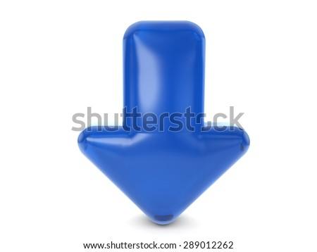 Blue balloon arrow symbol on a white background. - stock photo