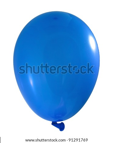 Blue balloon isolated on white background - stock photo