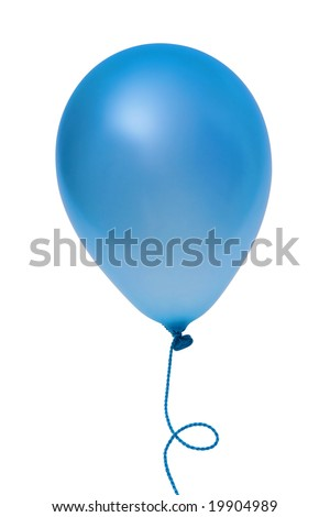 Blue  balloon with string isolated on white background (with clipping path) - stock photo