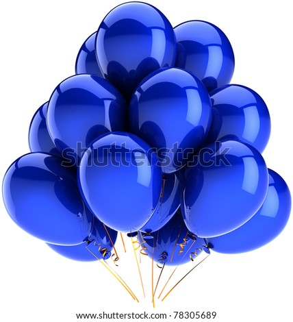 Blue balloons birthday party balloon holiday decoration cyan. Anniversary graduation celebrate greeting card concept. Happy joy fun positive abstract. 3d render isolated on white background - stock photo